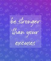 citação de motivação, cartaz para academia com ícones de fitness