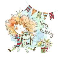 cartão de aniversário com uma linda garota ruiva com um coelho vetor