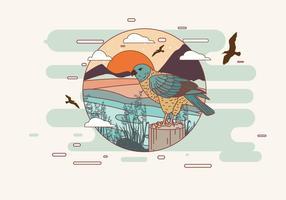 buzzard na borda do vetor do lago