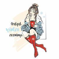 uma garota com um suéter e meias de tricô com uma caneca de chá quente. noites de inverno emocionantes. vetor