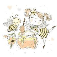 fada das flores com um pote de mel e uma abelha alegre. vetor
