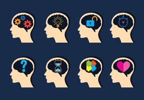 Conjunto de ícones de mente aberta