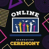 pós-design de mídia social para cerimônia de formatura online vetor