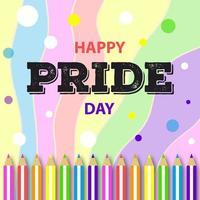 lápis colorido feliz dia do orgulho pós-design de mídia social vetor