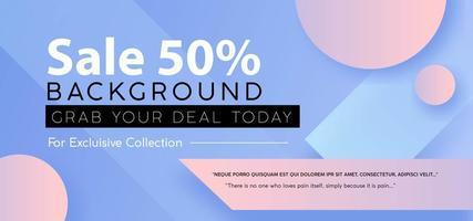 anúncio de banner de venda de forma geométrica gradiente pastel vetor