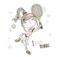 linda garota jogando tênis vetor