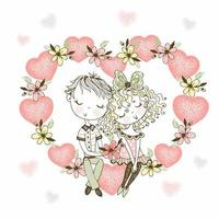 menina e menino apaixonados em um coração de flores vetor