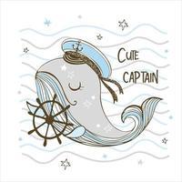 Capitão engraçado fofo baleia com a roda. vetor
