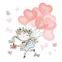 linda garota voando em balões de coração