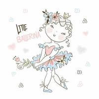 uma linda menina bailarina em um tutu vetor