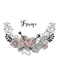 uma moldura de coroa de flores sobre o tema de tricô