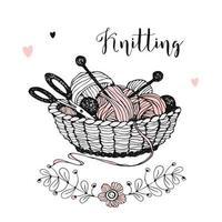 cesto com tricô, novelos de fios, lã e agulhas.