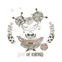 tricote de menina doce desfaz o fio vetor