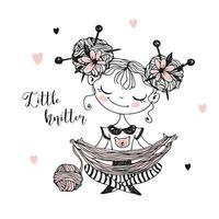 knitter doce menina desvenda o novelo de lã. vetor