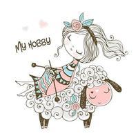 uma linda garota sentada em uma ovelha vetor