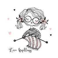 linda garota tricota um lenço em suas agulhas de tricô. vetor