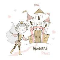 lindo príncipe e um castelo de conto de fadas. vetor
