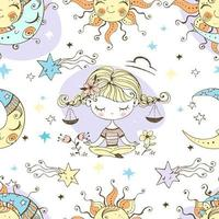 padrão divertido para crianças sol lua libra.