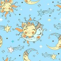 sol bonito e lua no céu estrelado.