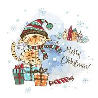 cartão de natal com um gato fofo vetor