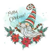 cartão de natal com um gnomo nórdico fofo