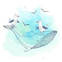postal sobre o tema do mar com gaivotas na grande baleia. vetor