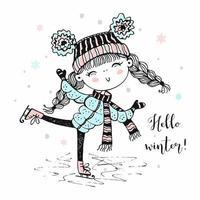 uma linda garota com um chapéu de malha patinando. vetor