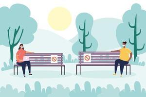pessoas praticando distanciamento social no parque vetor