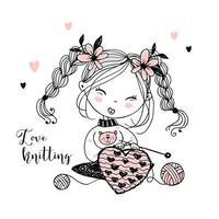 uma menina fofa tricota um coração de lã vetor