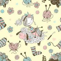 padrão sem emenda com uma linda knitter girl