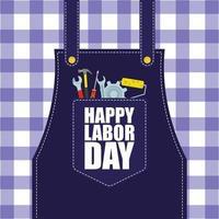 feliz celebração do dia do trabalho com avental vetor