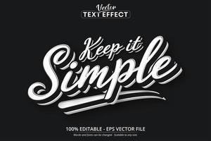 manter texto simples, efeito de texto editável de estilo minimalista vetor
