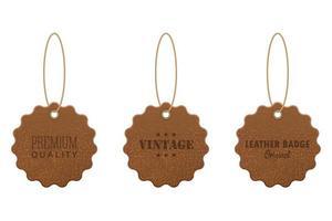 conjunto de etiquetas de couro vetor