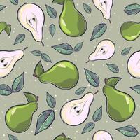 desenho animado sem costura padrão com peras e folhas vetor