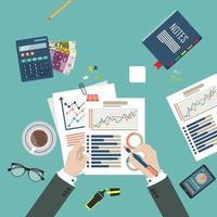 conceito financeiro vista de cima de negócios vetor