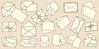 envelopes de correio de doodle desenhado à mão