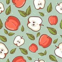 verão tropical sem costura padrão com maçãs e folhas vetor