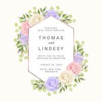 moldura de casamento geométrica com rosas pastel vetor