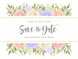 banner de rosas pastel salvar o cartão de data vetor