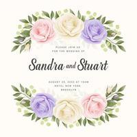 modelo de cartão de casamento de banner com rosas pastel vetor