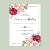 flores fundo cartão de convite de casamento vetor