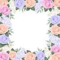 moldura com rosas e hortênsias de cores suaves