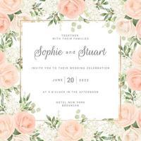 modelo de cartão de casamento com moldura de rosas vermelhas vetor