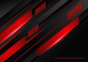 tecnologia abstrata design geométrico em ângulo vermelho e preto vetor