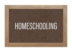 quadro-negro com texto de ensino doméstico vetor