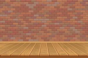 sala vazia com piso de madeira e parede de tijolos vetor