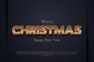 banner de feliz natal com texto dourado 3D em papel azul vetor