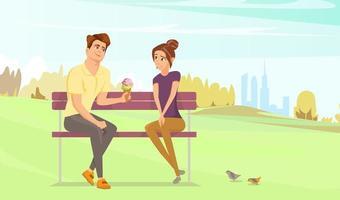 desenho animado casal no parque vetor