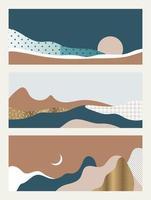 conjunto de paisagens abstratas vetor