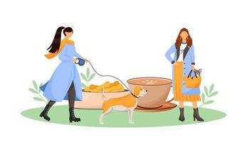 dona de cadela em café vetor
